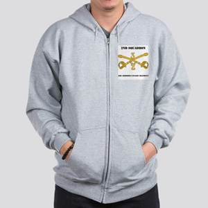 DUI - 2nd Squadron - 3rd ACR with text Zip Hoodie