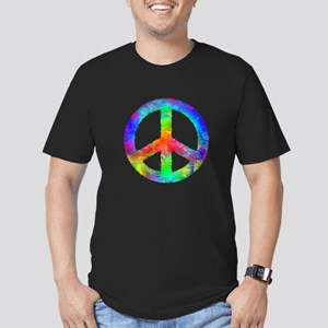 Multicolored Peace Sign Men's Fitted T-Shirt (dark