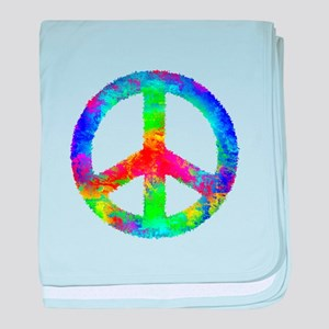 Multicolored Peace Sign baby blanket