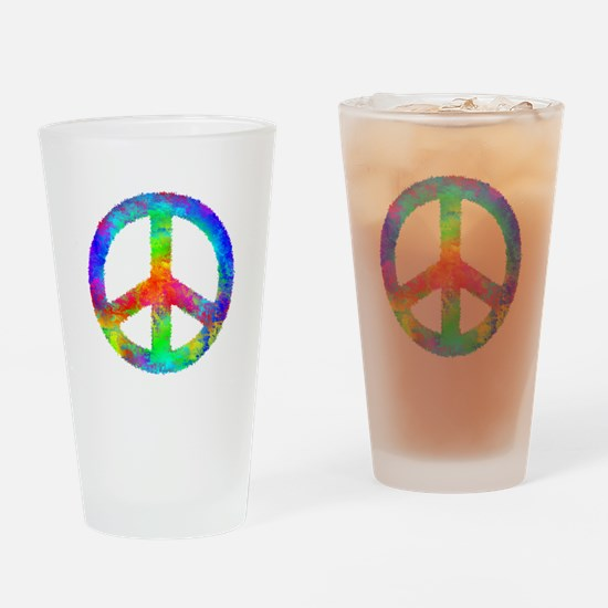 Multicolored Peace Sign Drinking Glass