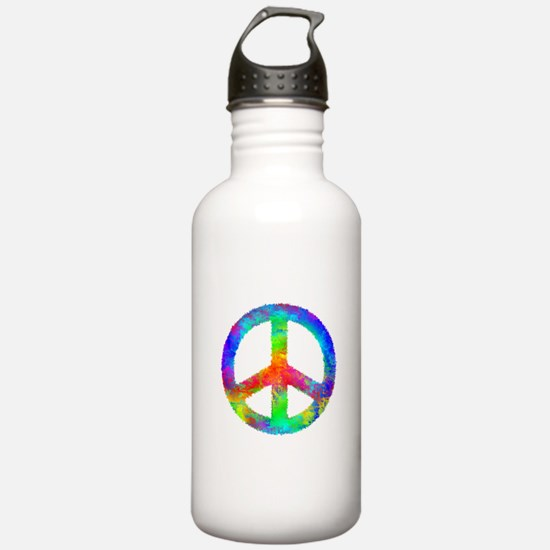 Multicolored Peace Sign Water Bottle