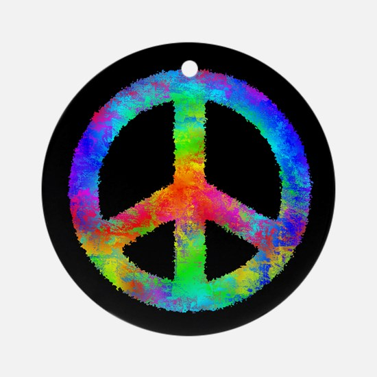 Multicolored Peace Sign Ornament (Round)