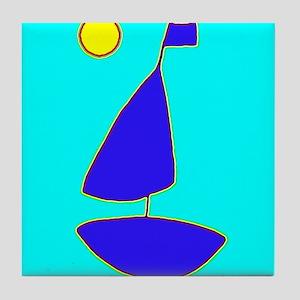 Sailing Moon Sailboat Maven Tile Coaster