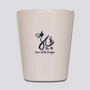 Year of the Dragon Black Calligraphy Shot Glass