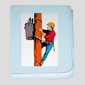 power lineman repairman baby blanket