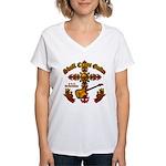 Skull Cross Guitar Women's V-Neck T-Shirt