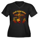 Skull Cross Guitar Women's Plus Size V-Neck Dark T