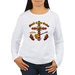 Skull Cross Guitar Women's Long Sleeve T-Shirt