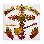 Skull Cross Guitar Tile Coaster