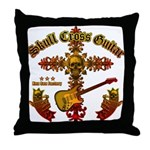 Skull Cross Guitar Throw Pillow