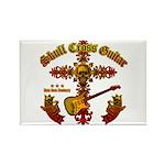 Skull Cross Guitar Rectangle Magnet