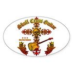 Skull Cross Guitar Sticker (Oval)