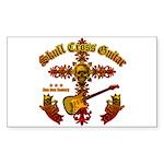 Skull Cross Guitar Sticker (Rectangle 50 pk)