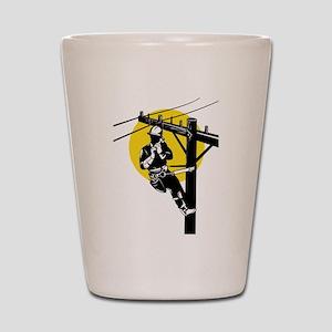power lineman repairman Shot Glass