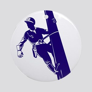power lineman repairman Ornament (Round)