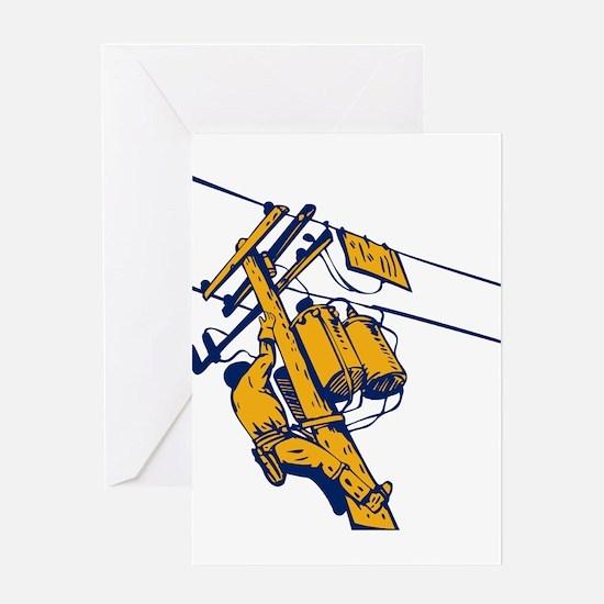 power lineman repairman Greeting Card