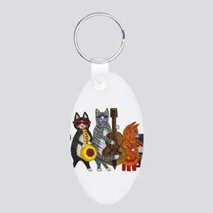 Jazz Cats Aluminum Oval Keychain