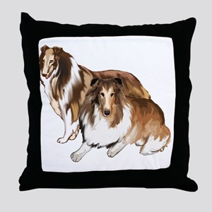 two collies Throw Pillow