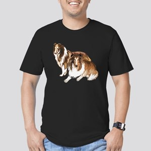 two collies Men's Fitted T-Shirt (dark)