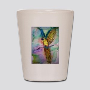 Macaw, blue, gold, parrot, Shot Glass