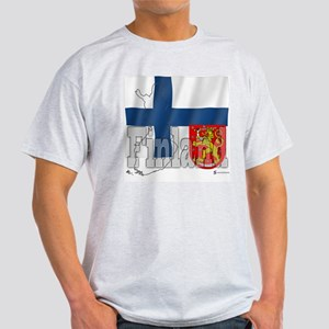 Silky Flag of Finland Ash Grey T-Shirt