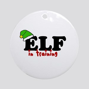 'Elf In Training' Ornament (Round)