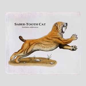 Saber-Tooth Cat Throw Blanket