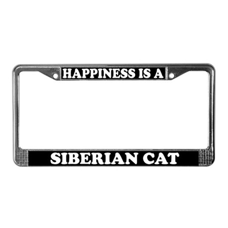 Happiness Is A Siberian Cat License Plate Frame