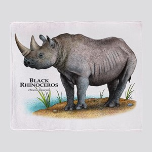 Black Rhinoceros Throw Blanket
