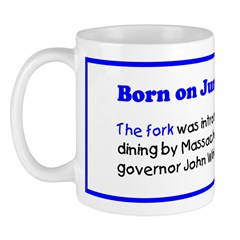 Mug: Fork was introduced to American dining by Mas