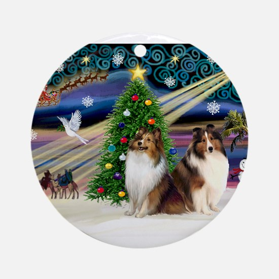 XmasMagic/2 Shelties-S Ornament (Round)