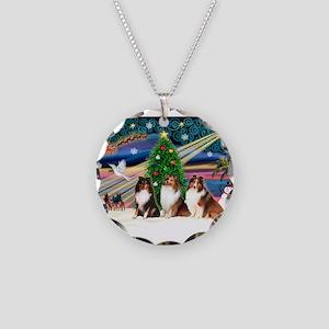 Xmas Magic/3 Shelties (T3) Necklace Circle Charm