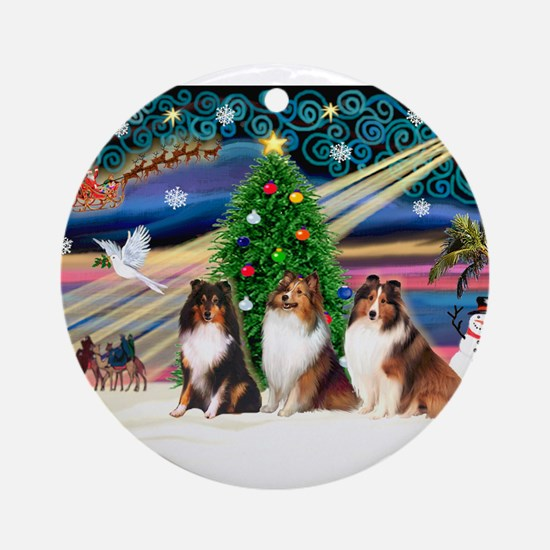 Xmas Magic/3 Shelties (T3) Ornament (Round)