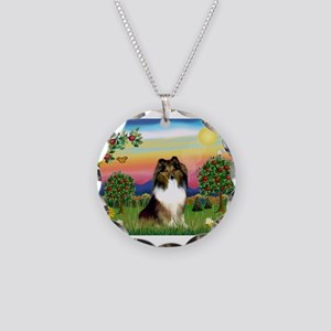 BrightC/Sheltie (sw) Necklace Circle Charm