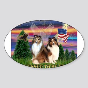 Blessed (#2) with 2 Shelties Sticker (Oval)