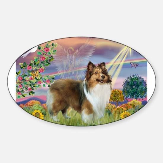 Cloud Angel & Sheltie Sticker (Oval)