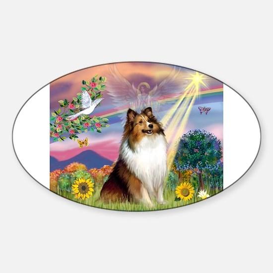 Cloud Angel Sheltie Sticker (Oval)