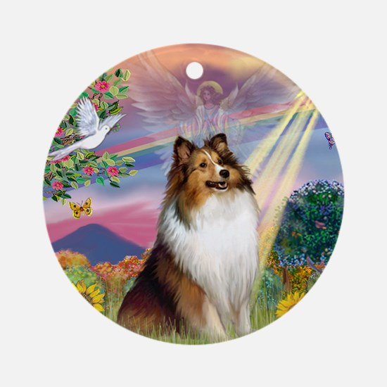 Cloud Angel Sheltie Ornament (Round)