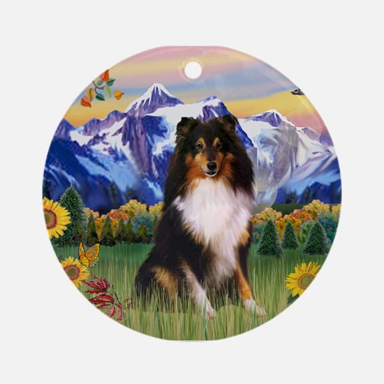 Mt. Country & Tri Shetland Sheepdog Ornament (Roun