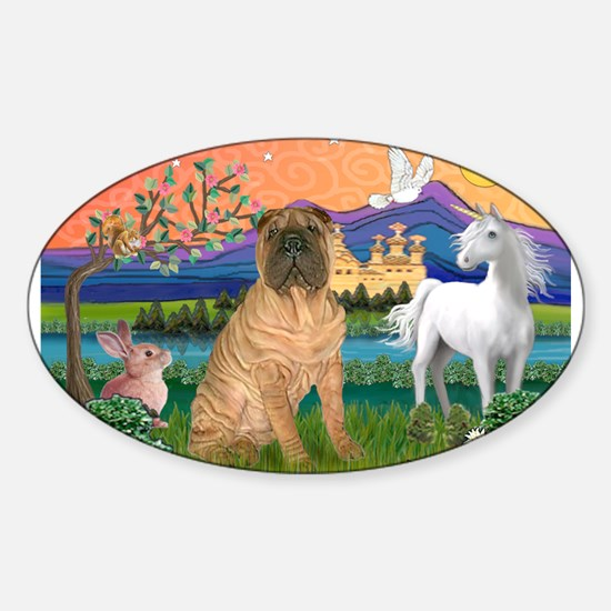 Fantasy Land /Shar Pei (#3) Sticker (Oval)