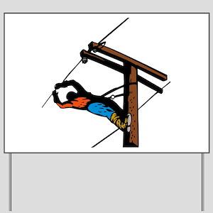 power lineman repairman Yard Sign