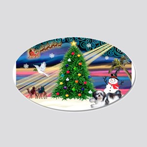 Xmas Magic & Shih Tzu (11) 22x14 Oval Wall Pee