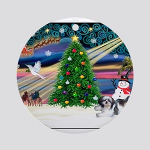 Xmas Magic & Shih Tzu (11) Ornament (Round)