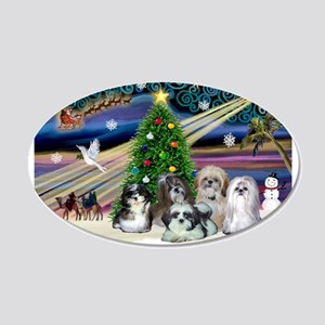 Xmas Magic/5 Shih Tzus 22x14 Oval Wall Peel