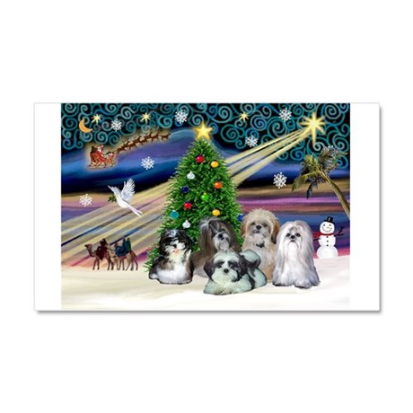 Xmas Magic/5 Shih Tzus Car Magnet 20 x 12
