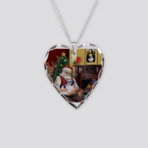 Santa's Shih Tzu (#1) Necklace Heart Charm