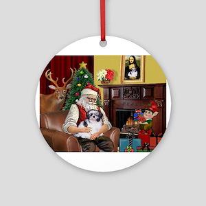Santa's Shih Tzu (#1) Ornament (Round)