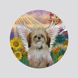 "Autumn Sun & Shih Tzu 3.5"" Button"