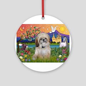Shih Tzu in Fantasy Land Ornament (Round)