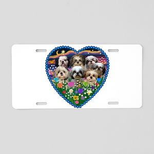 Shih Tzus in Heart Garden Aluminum License Plate